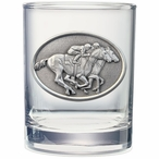 By A Nose Horse and Jockey Pewter Double Old Fashion Glasses, Set of 2