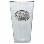 By A Nose Horse & Jockey Pint Beer Glasses w/ Pewter Accent, Set of 2