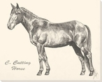 C Cutting Horse Wrapped Canvas Giclee Print Wall Art