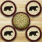 Cabin Bear Braided Jute Coasters and Basket Holder, Set of 10