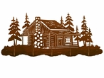 Cabin in the Pine Forest Scenic Five Hook Metal Wall Coat Rack