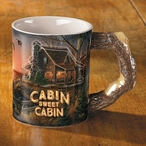 Cabin Sweet Cabin Sculpted Stoneware Coffee Mugs, Set of 6