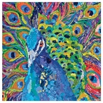 Cacophony of Color Peacock Bird Absorbent Beverage Coasters, Set of 12