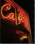 Cafe Neon Sign Wrapped Canvas Giclee Print Wall Art