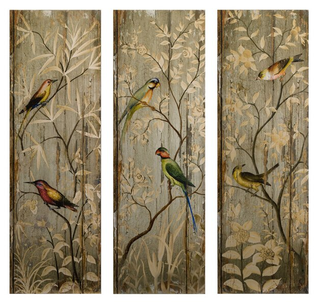 Wall Art Panels calima bird wood wall art panels, set of 3 - wall decor