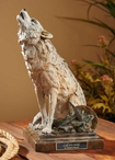 Call of the Wild Howling Wolf Hand Painted Sculpture
