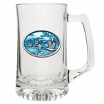 Canadian Goose Blue Glass Super Beer Mug with Pewter Accent