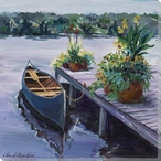 Canoe Boat at the Dock Wrapped Canvas Giclee Print Wall Art