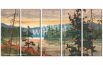 Canoe Country Scenic Wrapped Canvas Giclee Wall Art Print, Set of 5