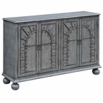 Canterbury 4 Door English Grey Wood Cabinet with Arch & Nailhead Trim