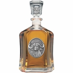 Cape Buffalo Capitol Glass Decanter with Pewter Accents