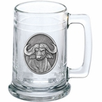 Cape Buffalo Glass Beer Mug with Pewter Accent
