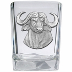 Cape Buffalo Pewter Accent Shot Glasses, Set of 4