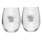 Cape Buffalo Pewter Accent Stemless Wine Glass Goblets, Set of 2