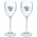 Cape Buffalo Pewter Accent Wine Glass Goblets, Set of 2