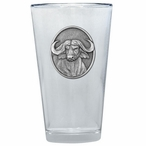 Cape Buffalo Pint Beer Glasses with Pewter Accent, Set of 2