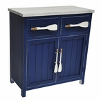 Cape May Azure Blue and White Wood Cabinet with Paddle Handles