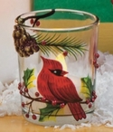 Cardinal Bird Hand Painted Glass Tea Light Candle Holders, Set of 6