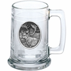 Caribou Glass Beer Mug with Pewter Accent