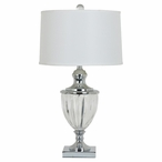 Carlton Glass and Metal Table Lamp with White Linen Shade