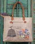 Carte Postal Stonewashed Canvas and Genuine Leather Tote Bag