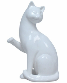 Cat Lifting Right Paw and Looking Left Sculpture
