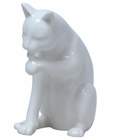 Cat Sitting and Licking Left Paw Sculpture