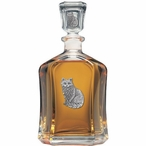Cat Sitting Capitol Glass Decanter with Pewter Accents