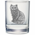 Cat Sitting Pewter Accent Double Old Fashion Glasses, Set of 2