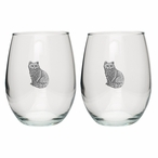 Cat Sitting Pewter Accent Stemless Wine Glass Goblets, Set of 2