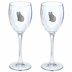 Cat Sitting Pewter Accent Wine Glass Goblets, Set of 2