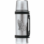 Cat Sitting Stainless Steel Thermos with Pewter Accent