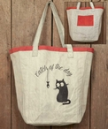 Catch of the Day Cat and Fish Canvas Grocery Market Tote Bag