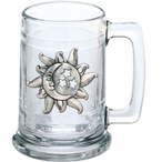 Celestial Glass Beer Mug with Pewter Accent
