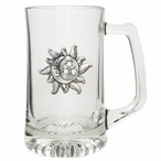 Celestial Glass Super Beer Mug with Pewter Accent
