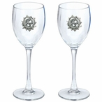 Celestial Pewter Accent Wine Glass Goblets, Set of 2