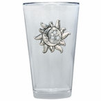 Celestial Pint Beer Glasses with Pewter Accent, Set of 2