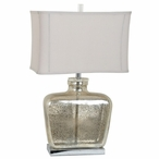 Celine Mercury Glass and Metal Table Lamp with White Linen Shade