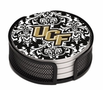 Central Florida Pattern Beverage Coasters with Holders, Set of 10