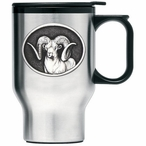 Chadwick Ram Stainless Steel Travel Mug with Handle and Pewter Accent