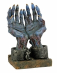 Chained Blue Zombie Hands Fantasy Sculpture