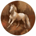 Champion Stock White Horse Absorbent Round Beverage Coasters, Set of 8