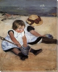 Children Playing on the Beach Wrapped Canvas Giclee Print Wall Art