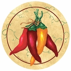 Chili Bunch Round Beverage Coasters by Eileen Rosenfeld, Set of 12