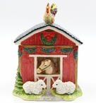 Christmas Barn House with Horse Sheep & Rooster Porcelain Cookie Jar