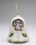 Christmas Bell with Snowman & Peppermints Musical Music Box Sculpture