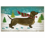 Christmas Dachshund Dog Vintage Style Wooden Sign