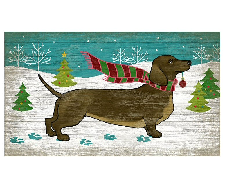 christmas dachshund dog vintage style wooden sign - Christmas Dachshund