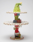 Christmas Gifts and Tree Ceramic Cake Stand with Candle Holder
