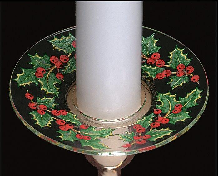 Christmas Holly Bobeche Glass Candle Wax Catchers, Set of ...